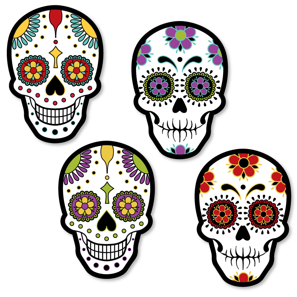 Day Of The Dead - Shaped Halloween Sugar Skull Party Cut-Outs - 24 ...