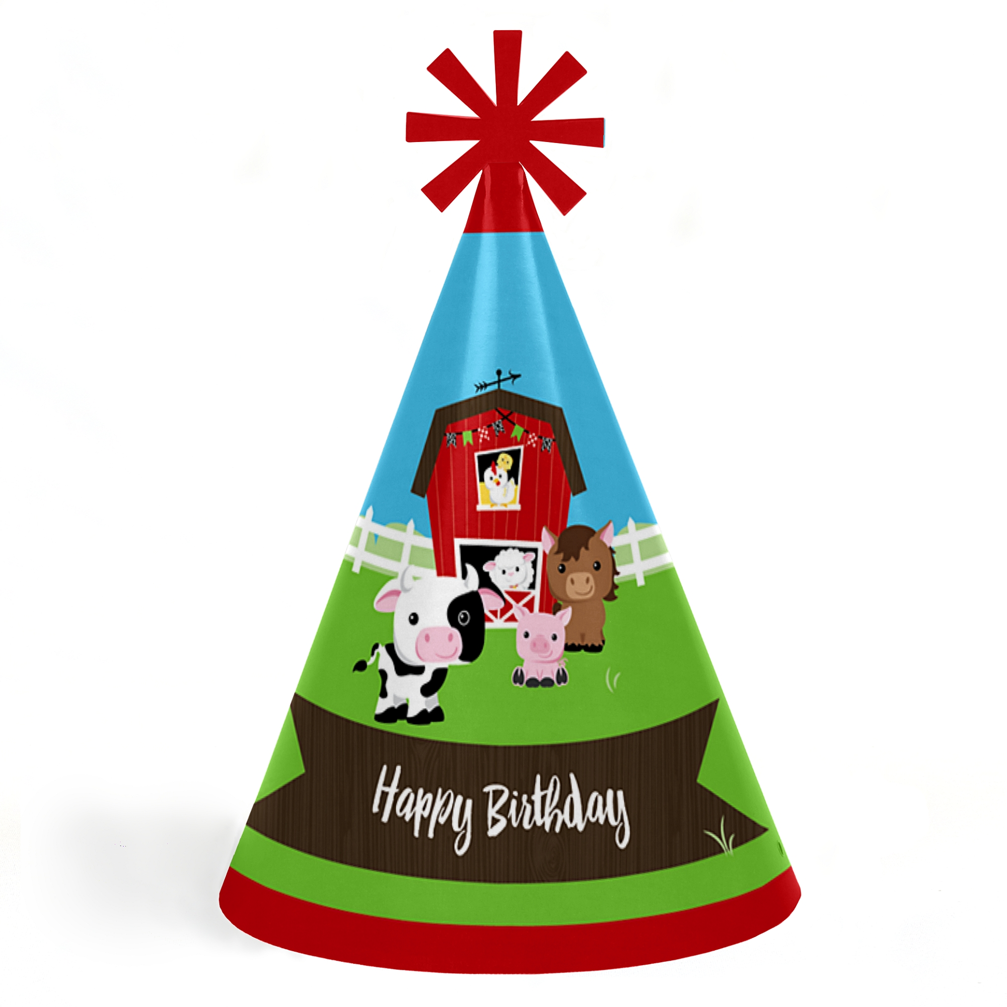 Farm Animals - Cone Happy Birthday Party Hats for Kids and Adults ...