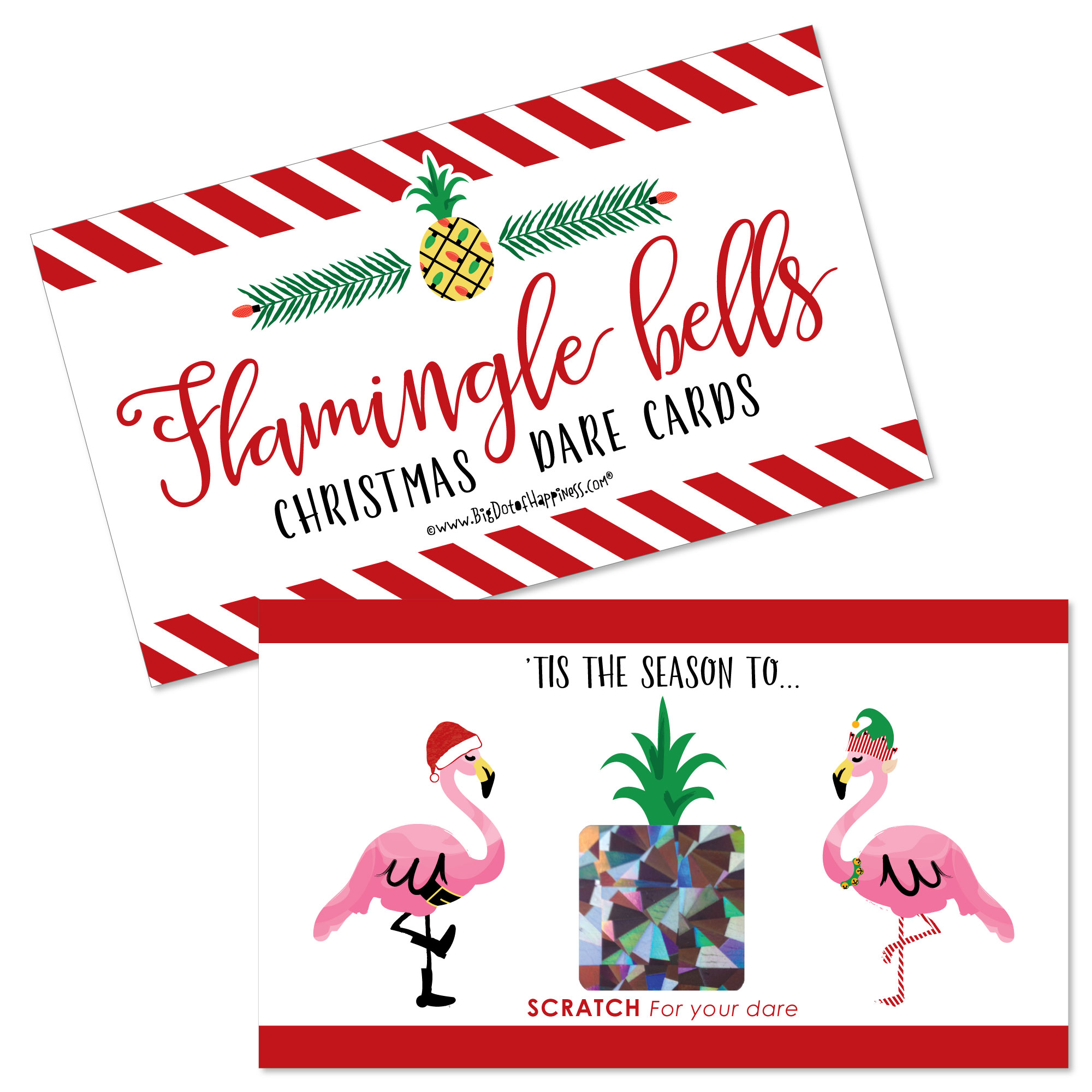 Flamingle Bells - Tropical Flamingo Christmas Party Scratch Off Dare ...