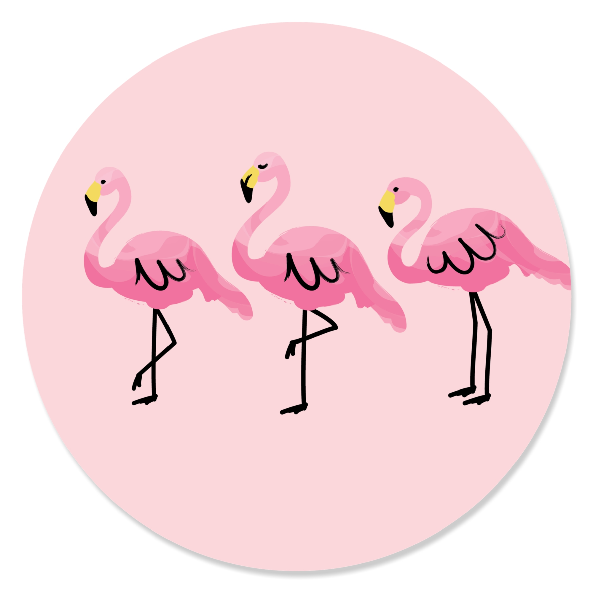Flamingo - Party Like a Pineapple - Party Circle Sticker ...
