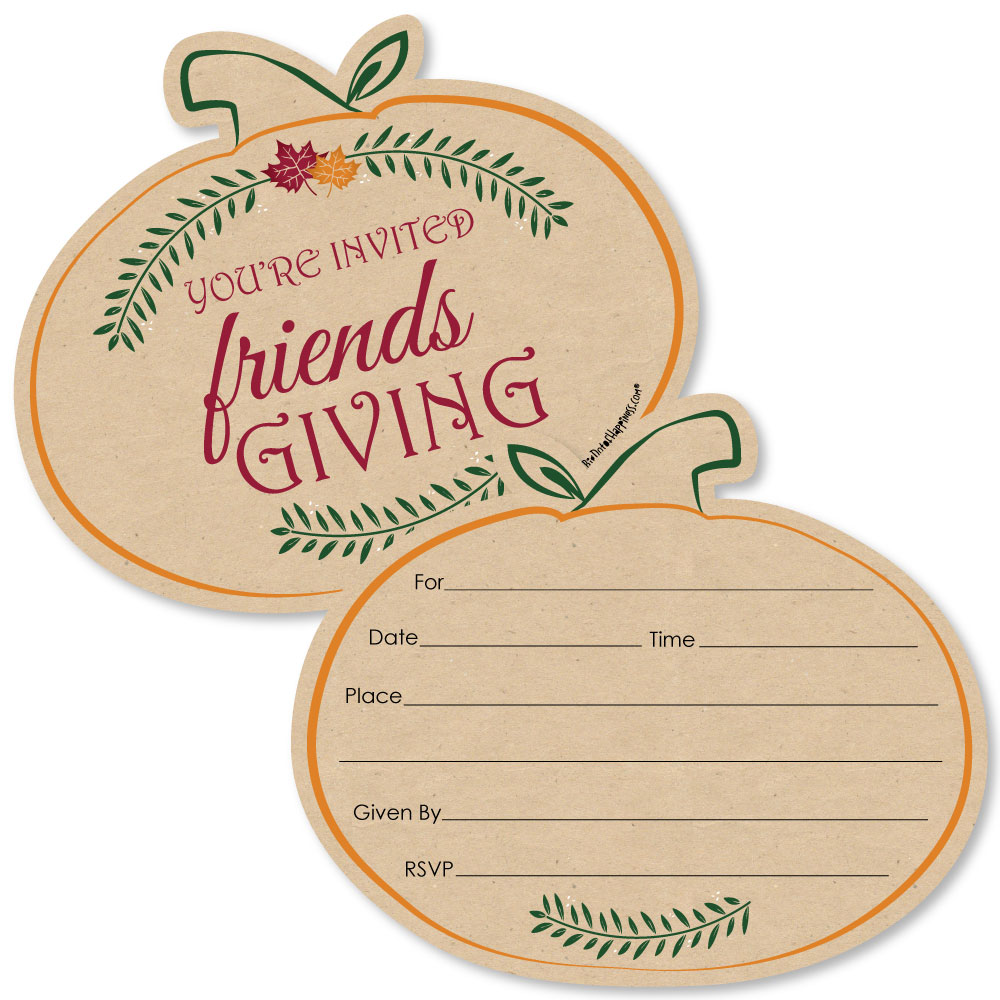 Friends Thanksgiving Feast Shaped Fill In Invitations W Envelopes