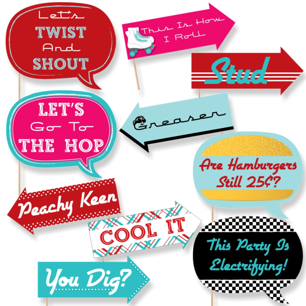 Funny 50\'s Sock Hop - Photo Booth Props Kit - 10 Piece ...