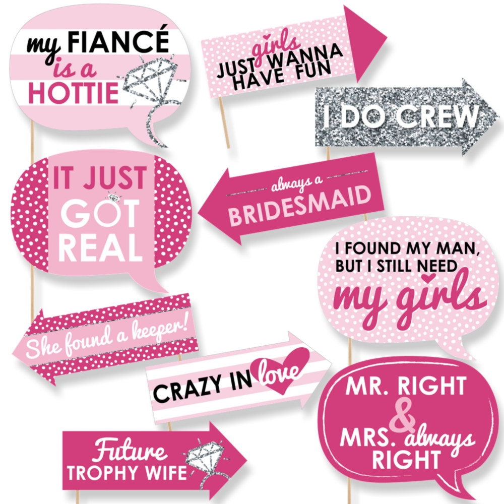 Funny Bridal Shower Classy Bachelorette Party Photo Booth Props