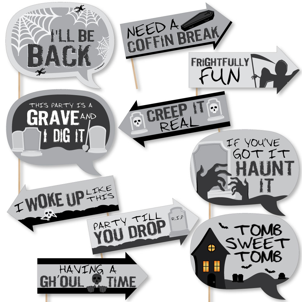 graveyard tombstone - halloween party - photo booth props kit - 10