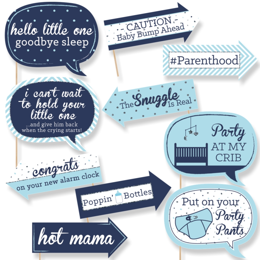 funny hello little one boy baby shower photo booth props kit 10 ct 842576102425 ebay. Black Bedroom Furniture Sets. Home Design Ideas
