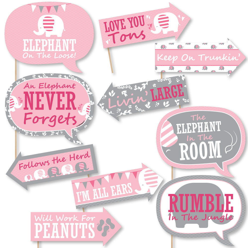 Funny Pink Elephant Girl Baby Shower Or Birthday Photo Booth Props
