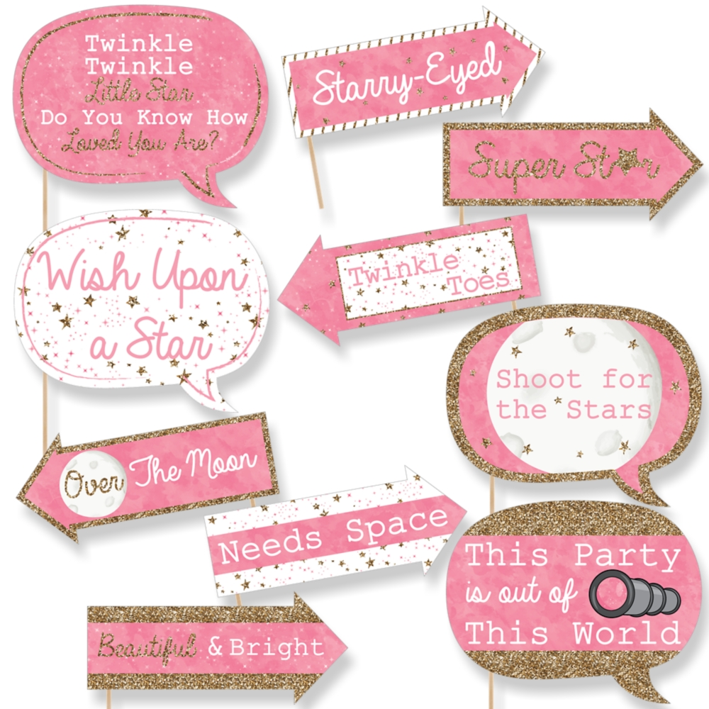 Funny Pink Twinkle Little Star - Baby Shower or Birthday Photo Booth ...