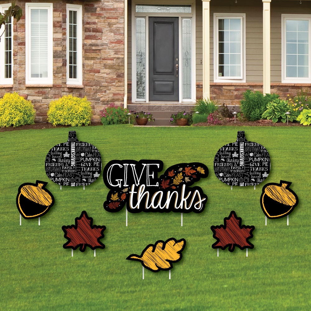 Give Thanks - Yard Sign & Outdoor Lawn Decor - Thanksgiving Yard ...