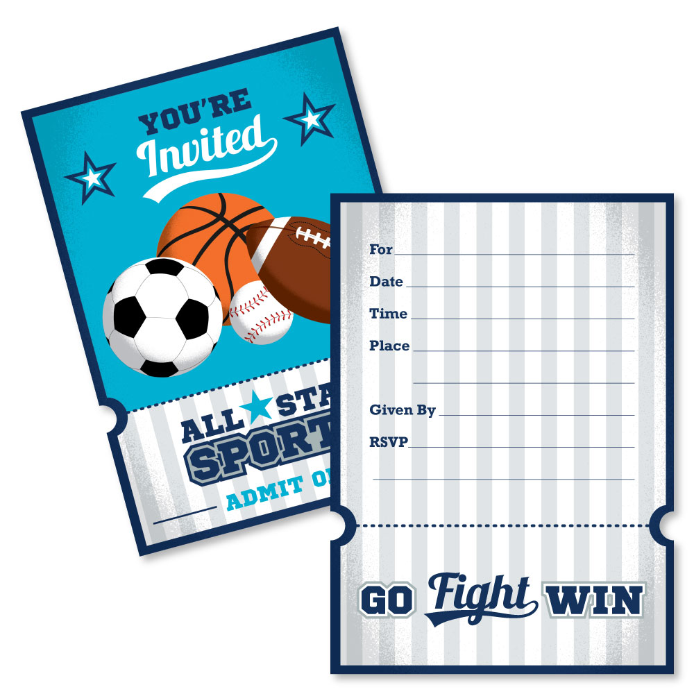 Sports - Shaped Fill-In Baby Shower or Birthday Party Invitation ...