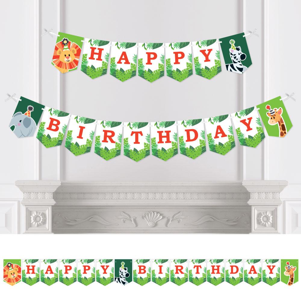 Safari Zoo Animal Bunting Banner - Birthday Party Decorations ...