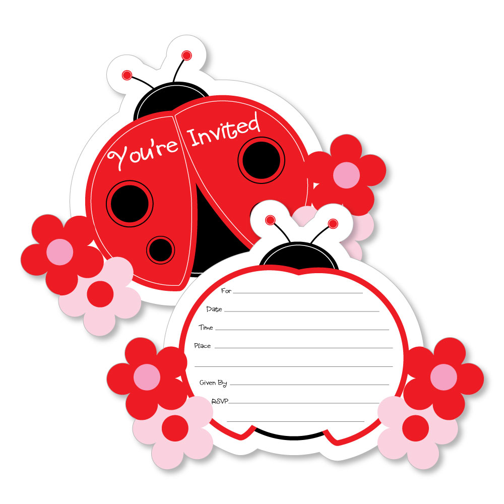 Ladybug - Shaped Fill-In Invites - Baby Shower or Birthday Party ...