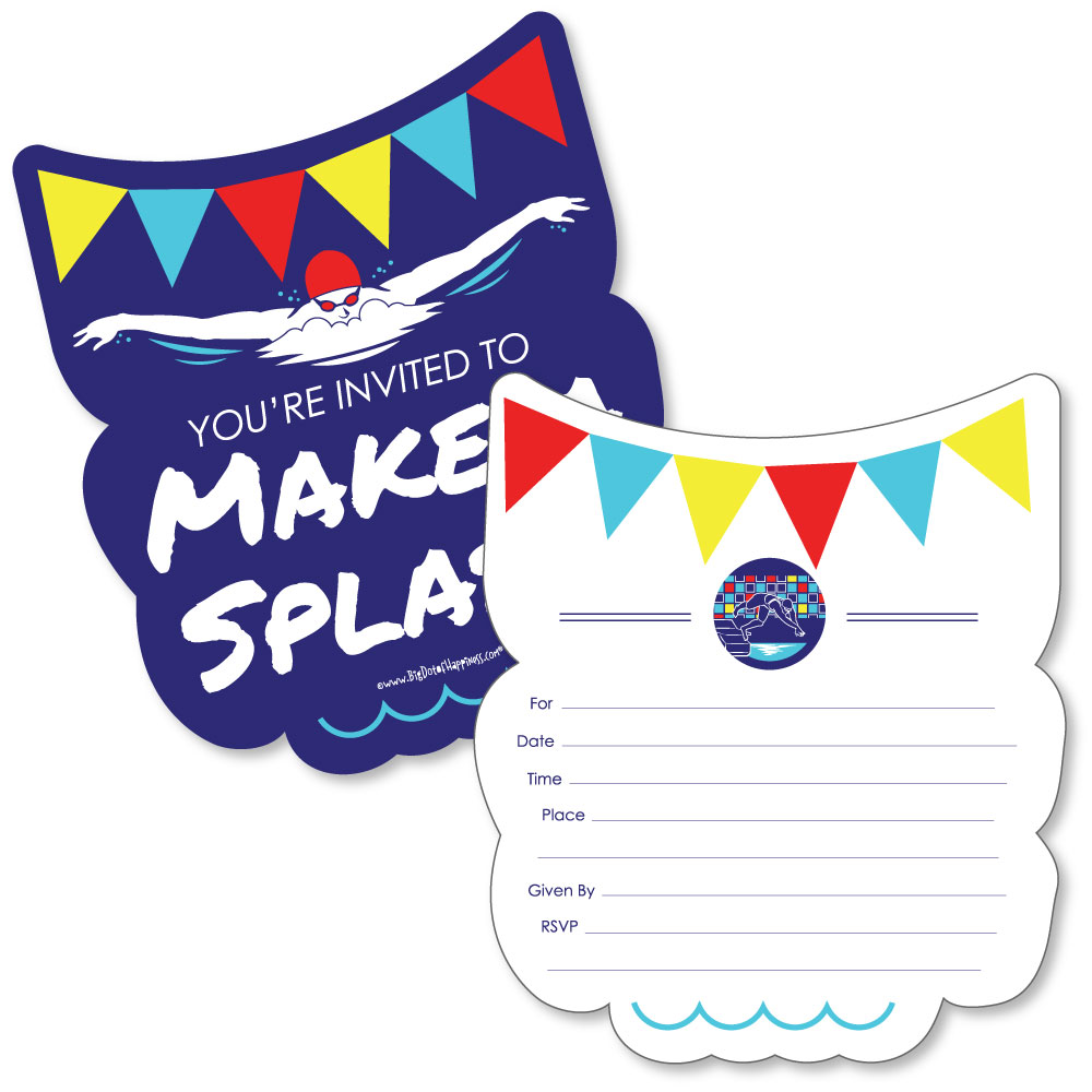 swim team shaped fill in invitations swimming or birthday party