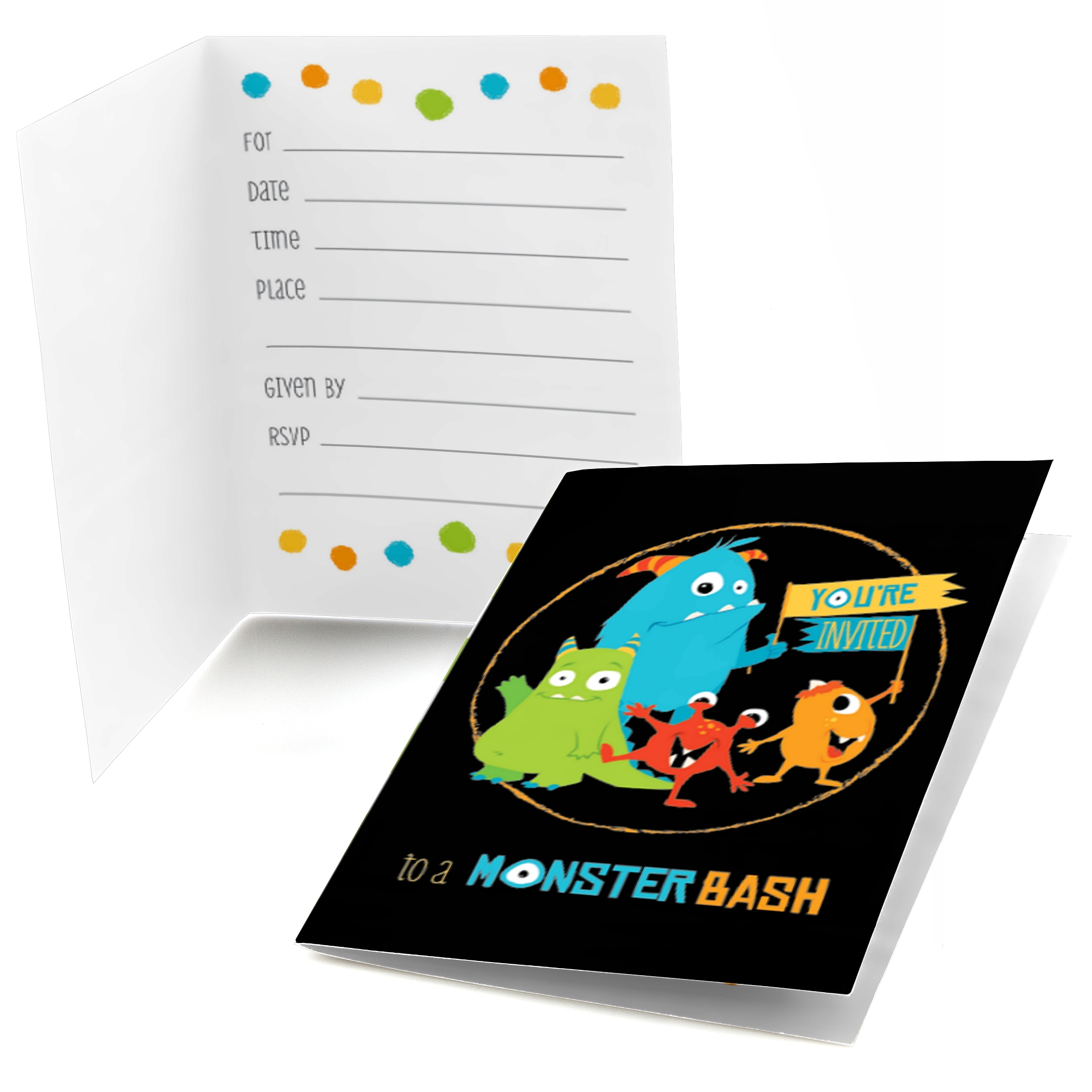 Monster Bash - Fill In Birthday Party or Baby Shower Invitations (8 ...