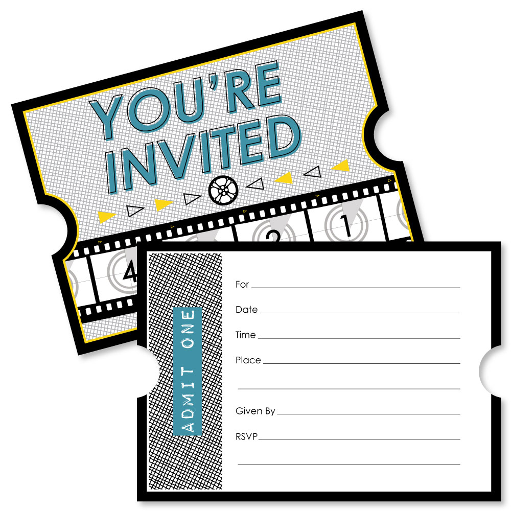 Movie - Shaped Fill-In Invitations - Hollywood Party Invitations ...