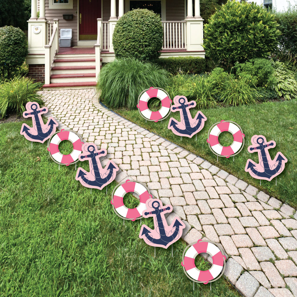 Ahoy - Nautical Girl - Outdoor Baby Shower or Birthday Party Yard ...