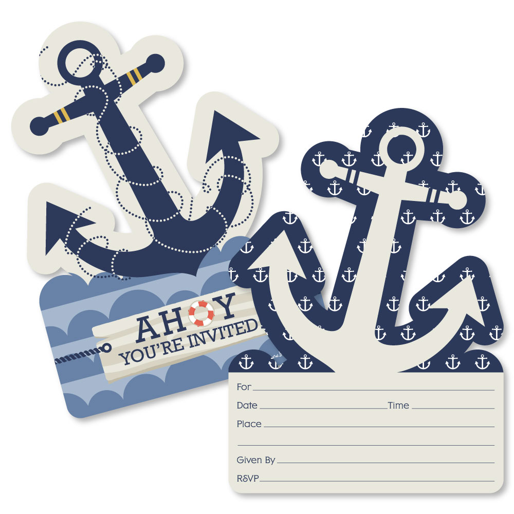 Nautical -Shaped Fill-In Invitations-Baby Shower or Birthday Party ...