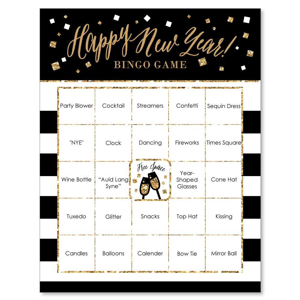 New Year\'s Eve - Gold - New Years Eve Party Bingo Game & Bar Bingo ...