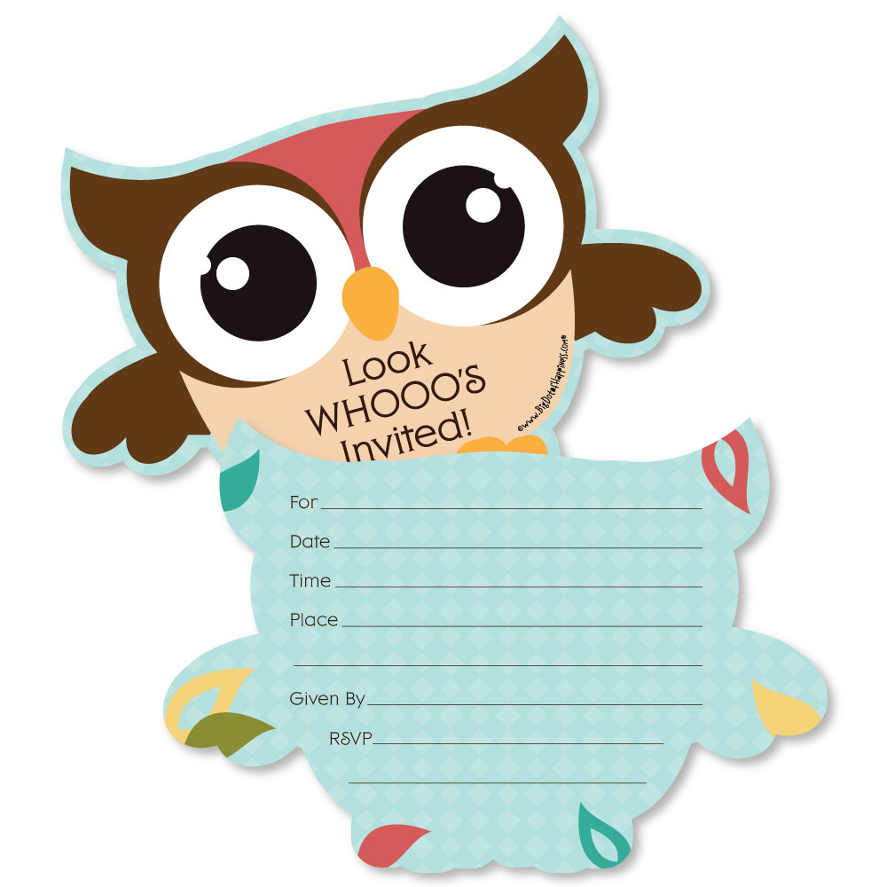 Owl - Shaped Fill-In Invitations - Baby Shower or Birthday Party ...