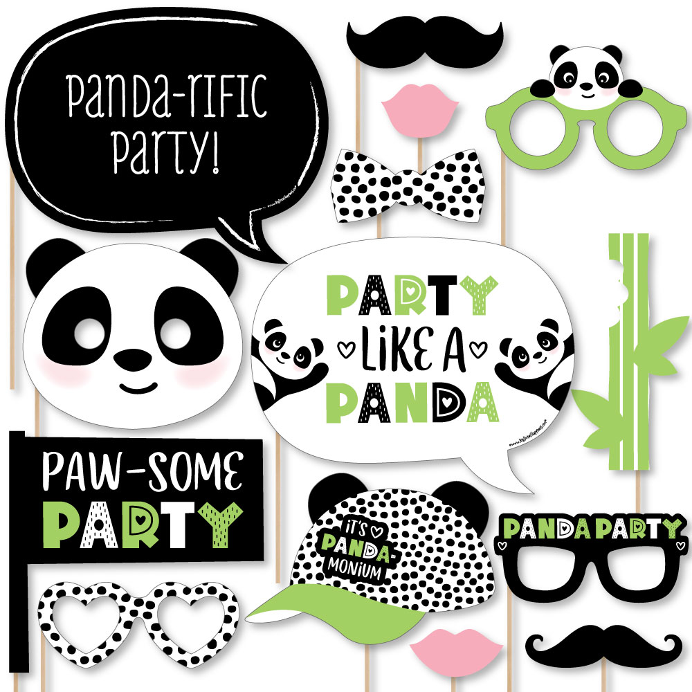 Funny Panda - Baby Shower or Birthday Party Photo Booth Props Kit-10 ...