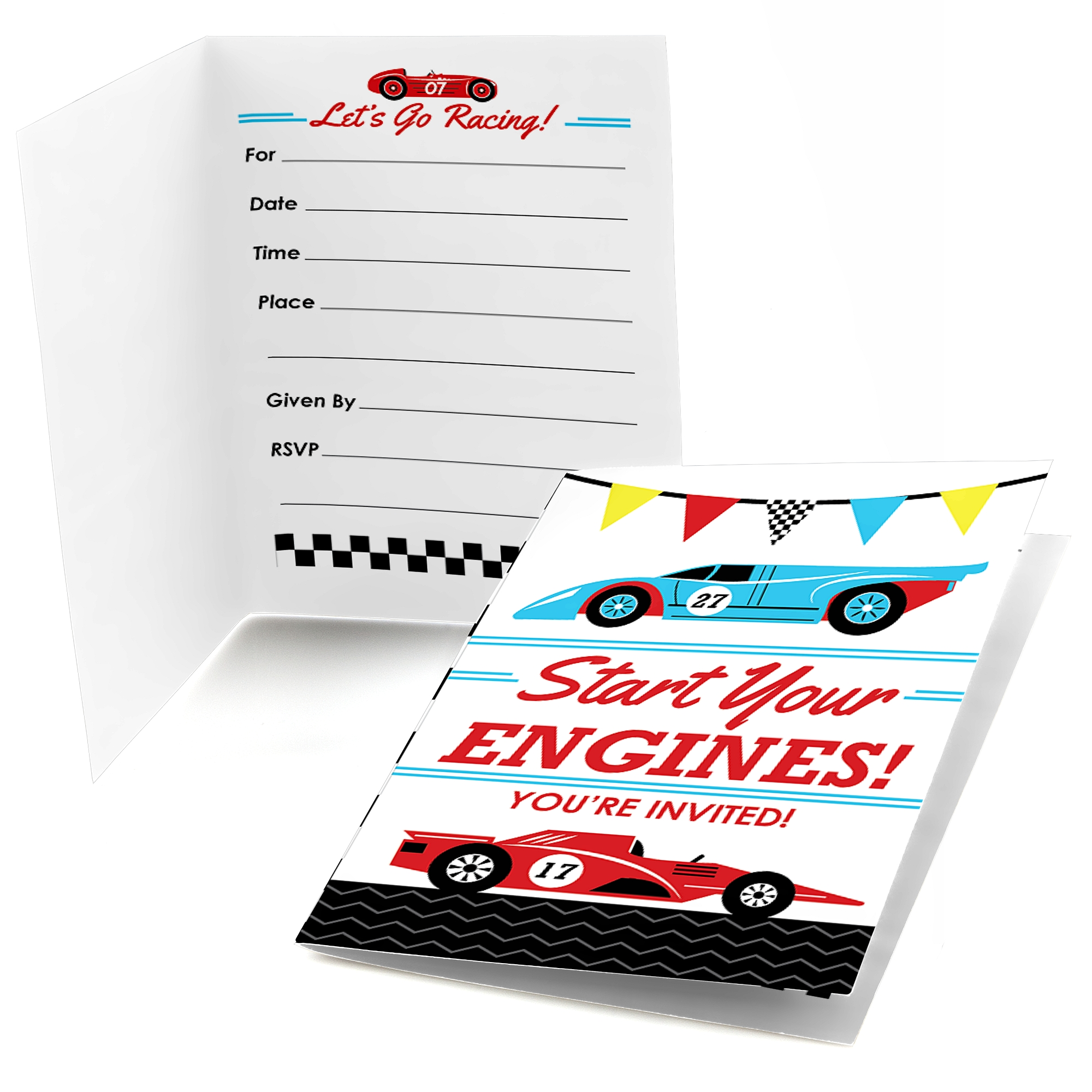 Racecar - Fill In Race Car Birthday Party or Baby Shower Invitations ...