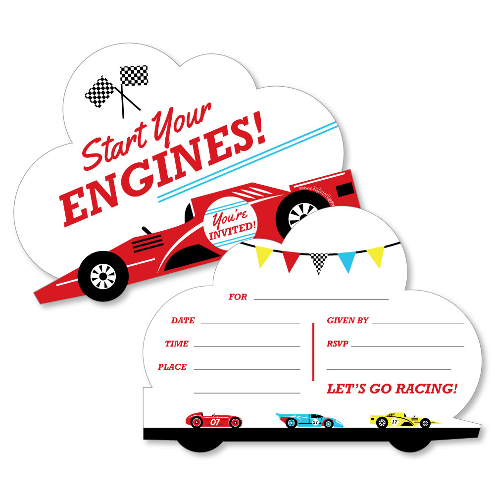 Racecar - Shaped Fill-In Invitations -Birthday Party or Baby Shower ...
