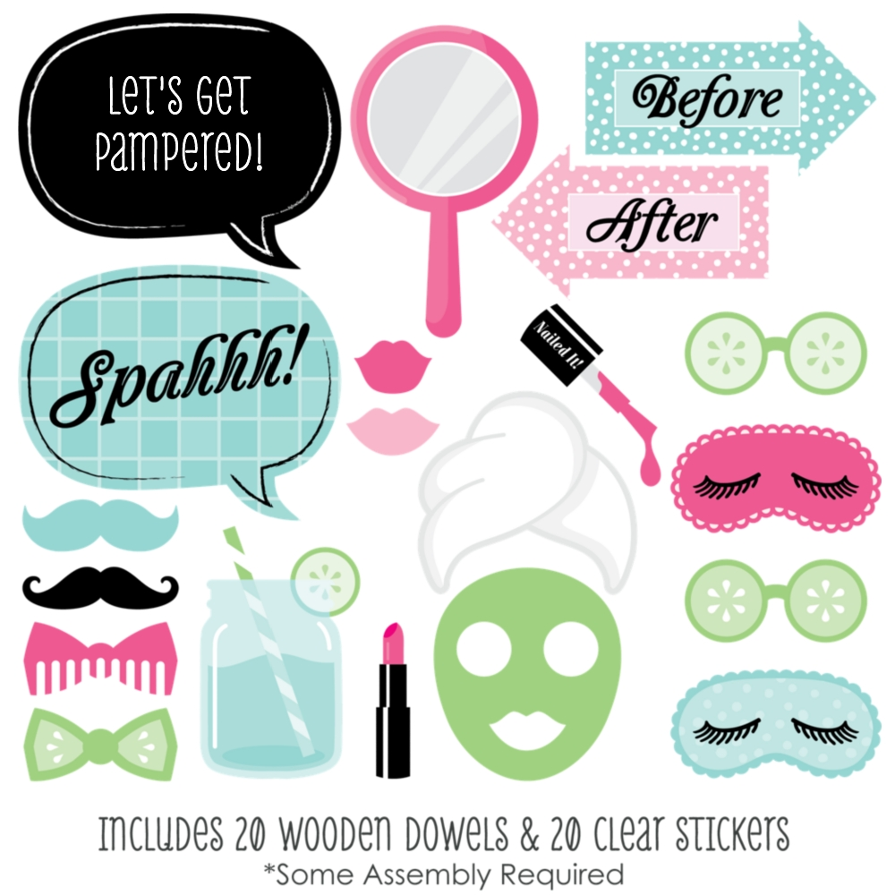 Spa Day - Photo Booth Props Kit - 20 Count eBay