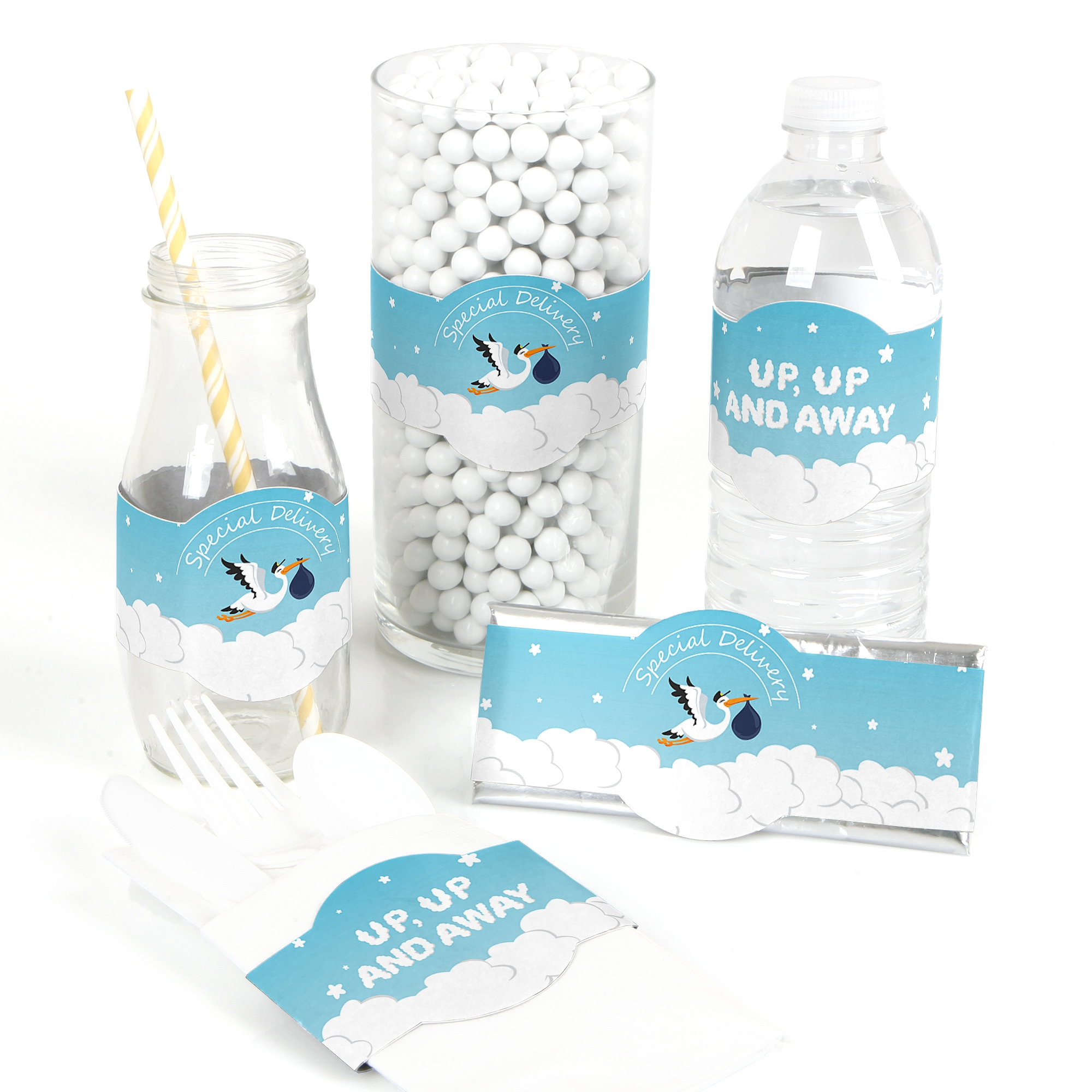 Boy Special Delivery Blue Stork Baby Shower Diy Wrapper Favors