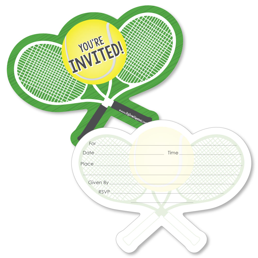 Tennis - Shaped Fill-In Invitations - Baby Shower or Birthday Party ...