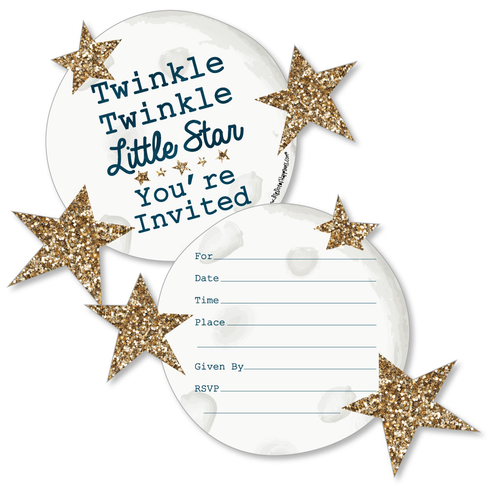 Twinkle Little Star-Shaped Fill-In Invites-Baby Shower or Birthday ...
