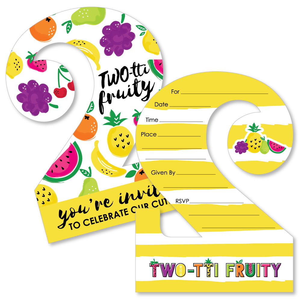 TWO-tti Fruity - 2nd Birthday - Shaped Fill-In Invites - Party ...