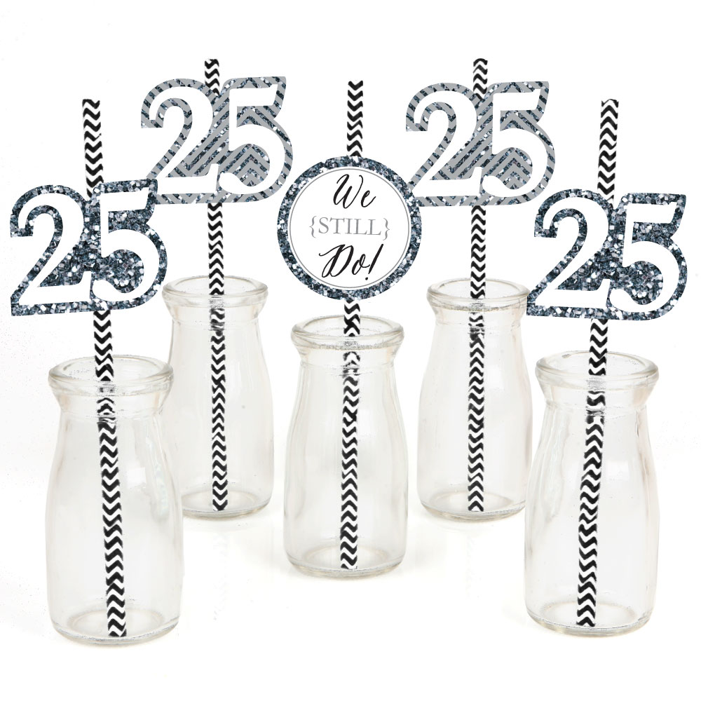 We Still Do - 25th Anniversary-Straw Decor-Party Striped Decorative ...