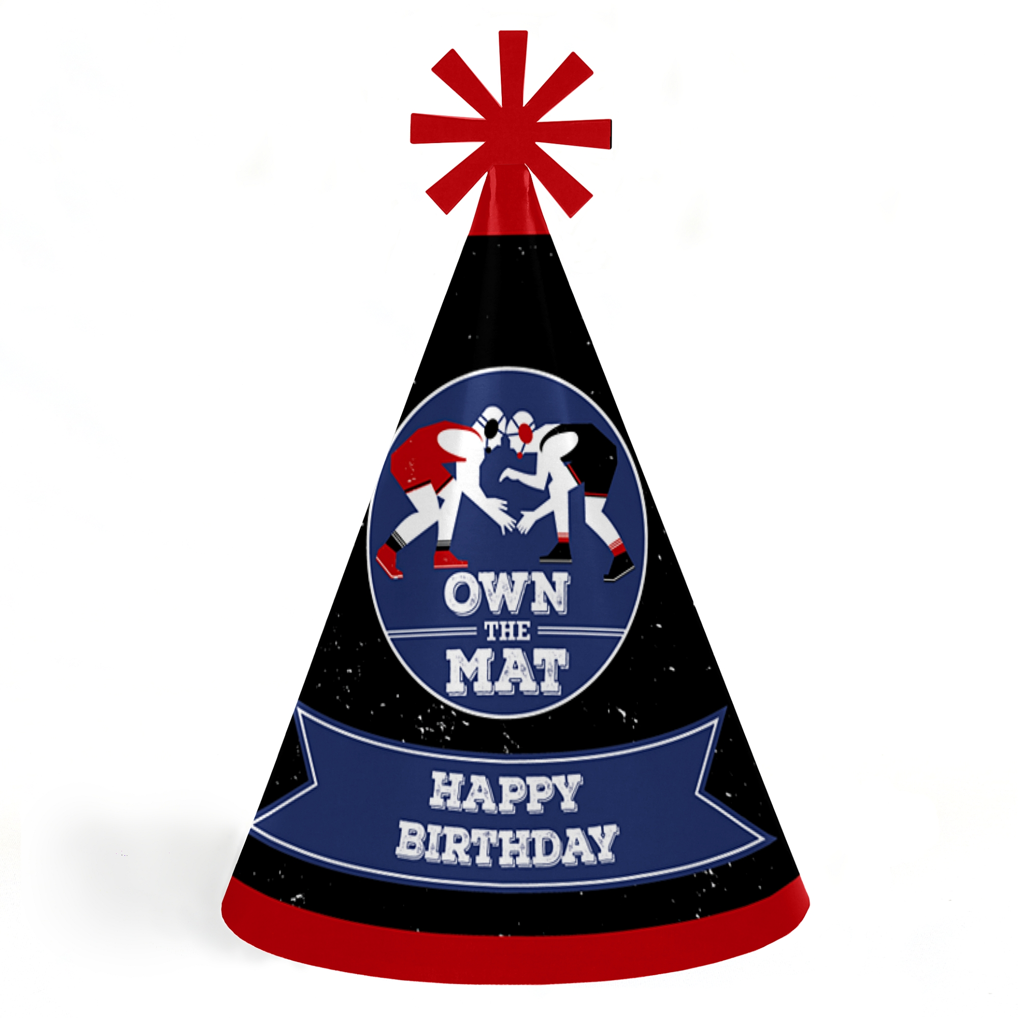 Own The Mat - Wrestling -Cone Happy Birthday Party Hats for Kids and ...