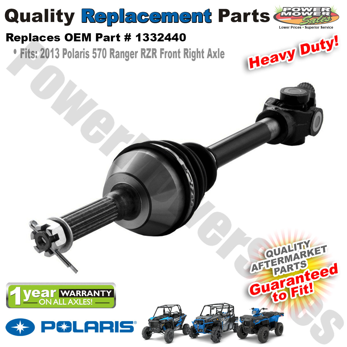 Details about Heavy Duty Front Right Axle for 2013 Polaris 570 Sportsman  RZR Replaces: 1332440