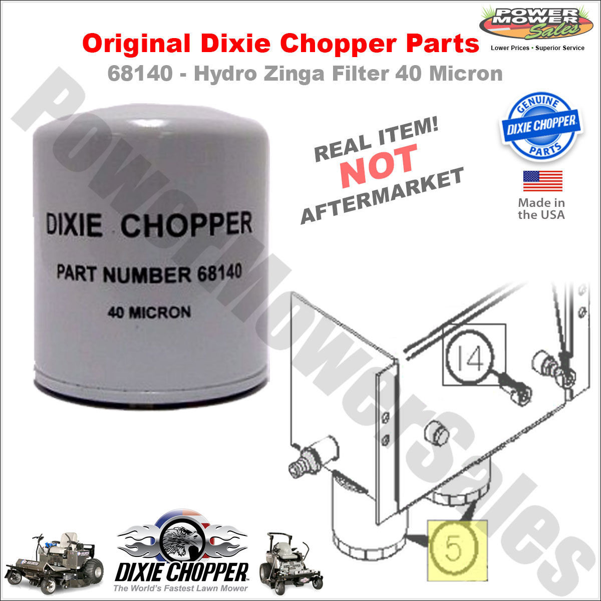 Details about 68140 Dixie Chopper 40 Micron Hydraulic Filter for 3066LP &  More Lawn Mowers