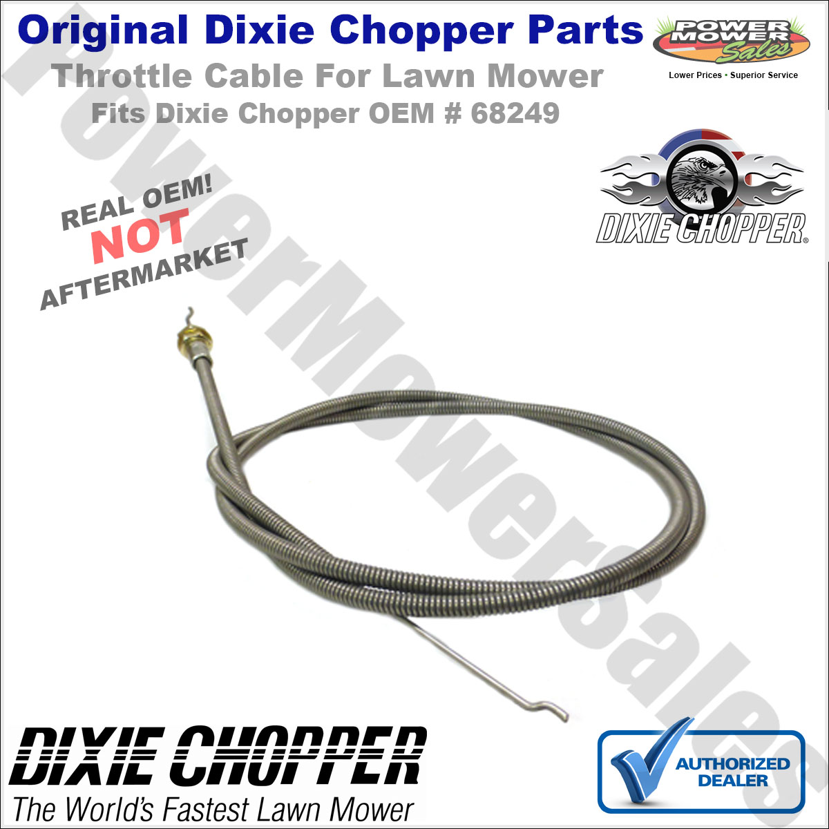 New Rotary 12053 THROTTLE CABLE FOR DIXIE CHOPPER 68249 Free US Shipping
