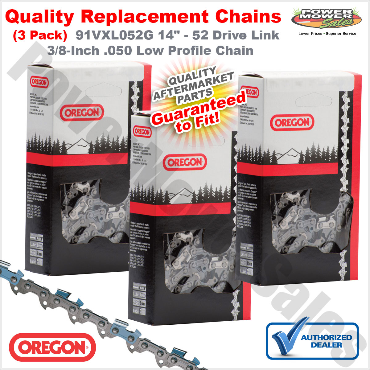 1.3mm Gauge x2 Replacement 14 Chain For Tanaka Chainsaws 52 Drive Link .050