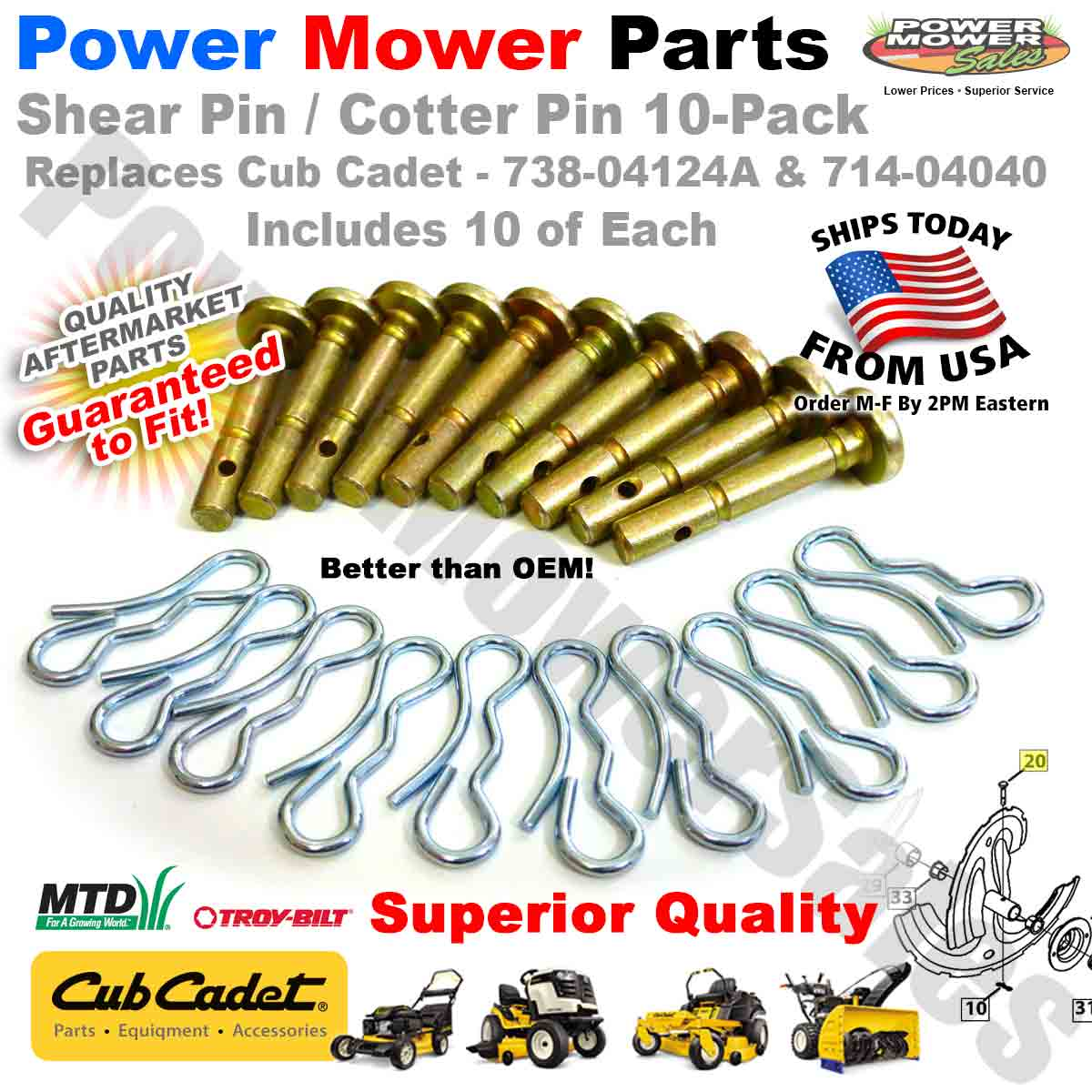 4 Cotter Pins 714-04040 for MTD Snow Blowers Shear Pins 73804124A with 4