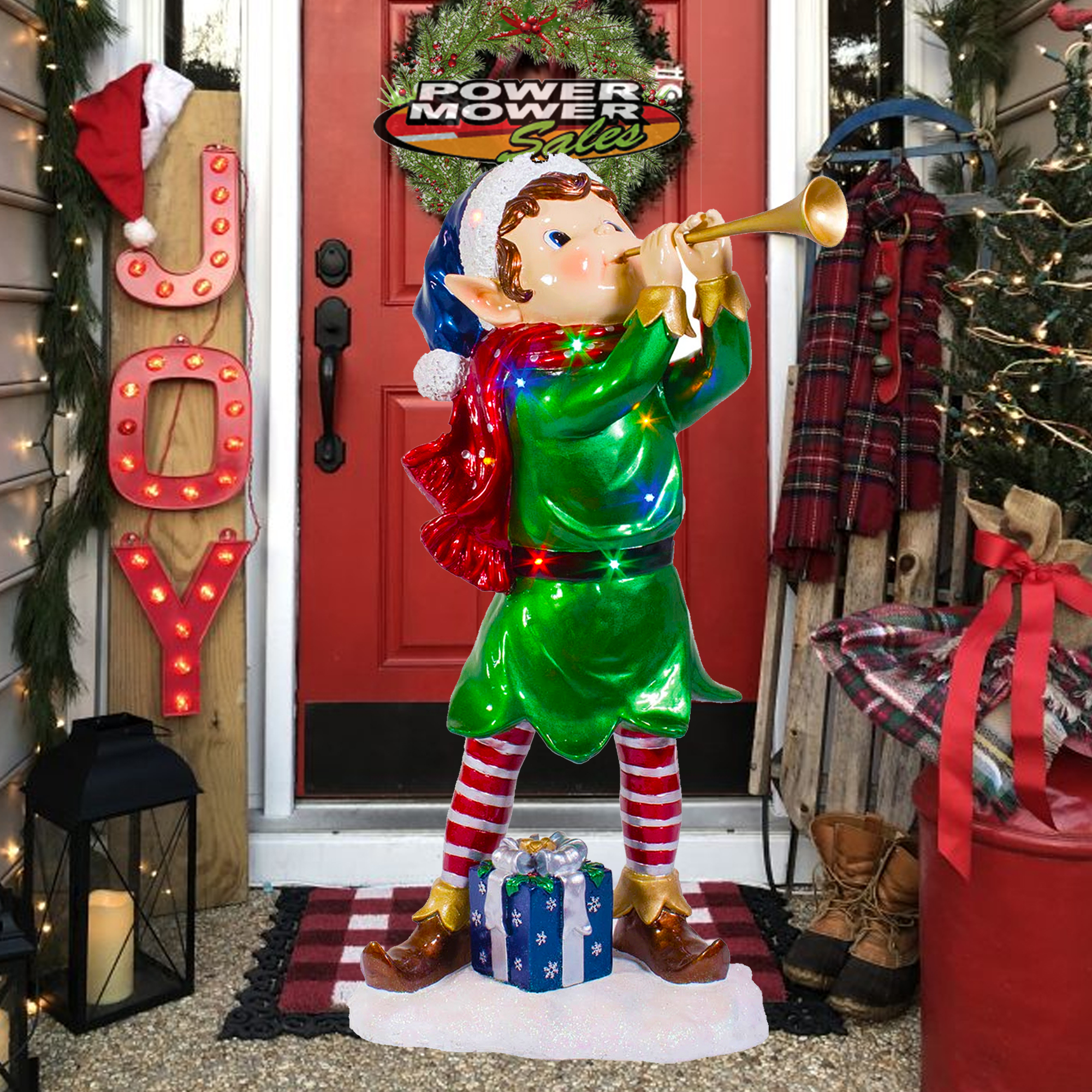 Details about Outdoor Elf , Christmas Holiday Decoration \u0026 Ornaments , LED  3\u0027 Pixie Elf w Horn