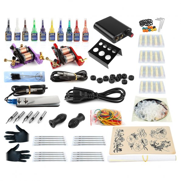 Complete tattoo starter kit 2 machine gun 10 color inks for Tattoo kit ebay