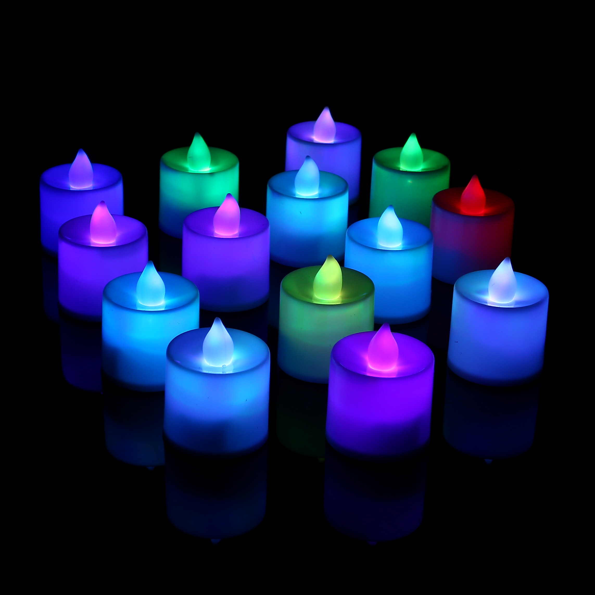 24 x flameless led candles flickering tea lights battery operated wedding home ebay. Black Bedroom Furniture Sets. Home Design Ideas