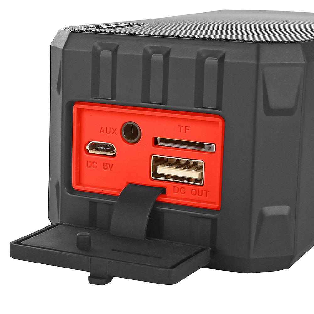 SARDINE F5 IP65 Waterproof Bluetooth Speaker Power Bank Function Black Red