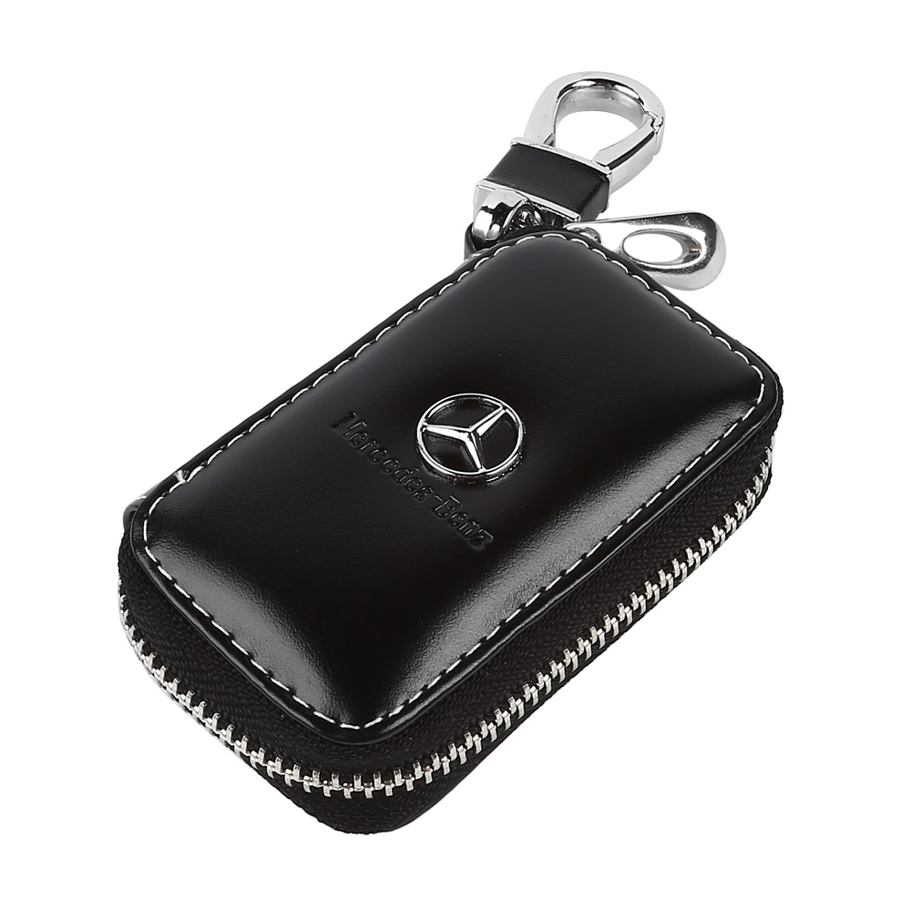 Hot pu leather cow car key holder key ring chain case bag for Mercedes benz key holder