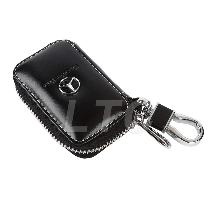Premium pu leather cow car key holder key chain ring case for Mercedes benz key pouch