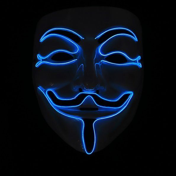 Light Up LED Guy Fawkes for Vendetta Mask EL Wire Mask Rave EDM ...