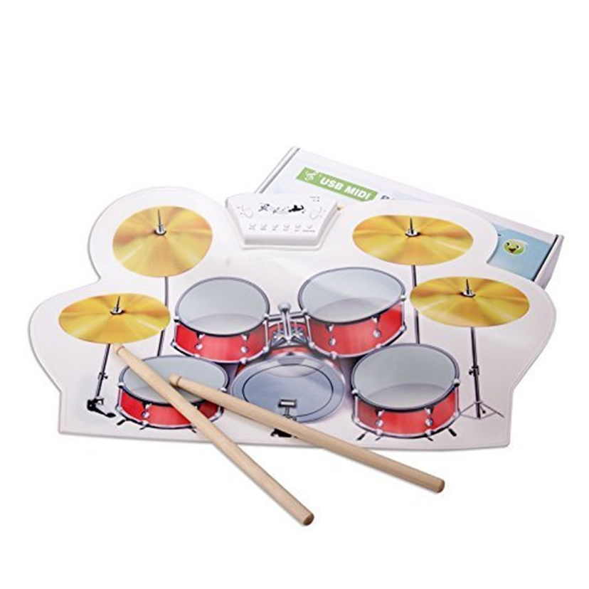 midi usb drum kit pc desktop roll up drum pad portable with drumsticks ebay. Black Bedroom Furniture Sets. Home Design Ideas