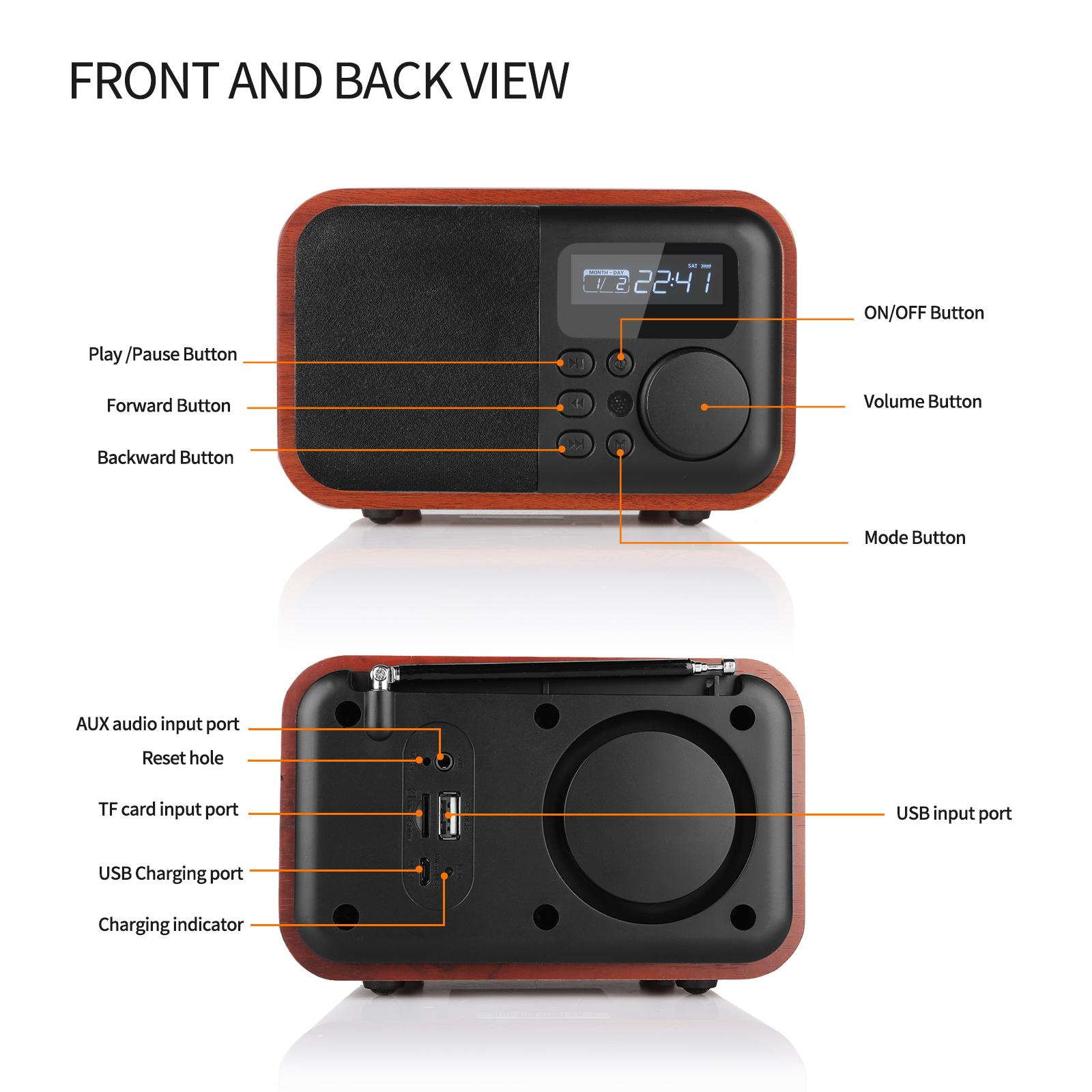 Wooden Digital Speaker Bluetooth FM Radio With Alarm Clock Mp3 Remote Control