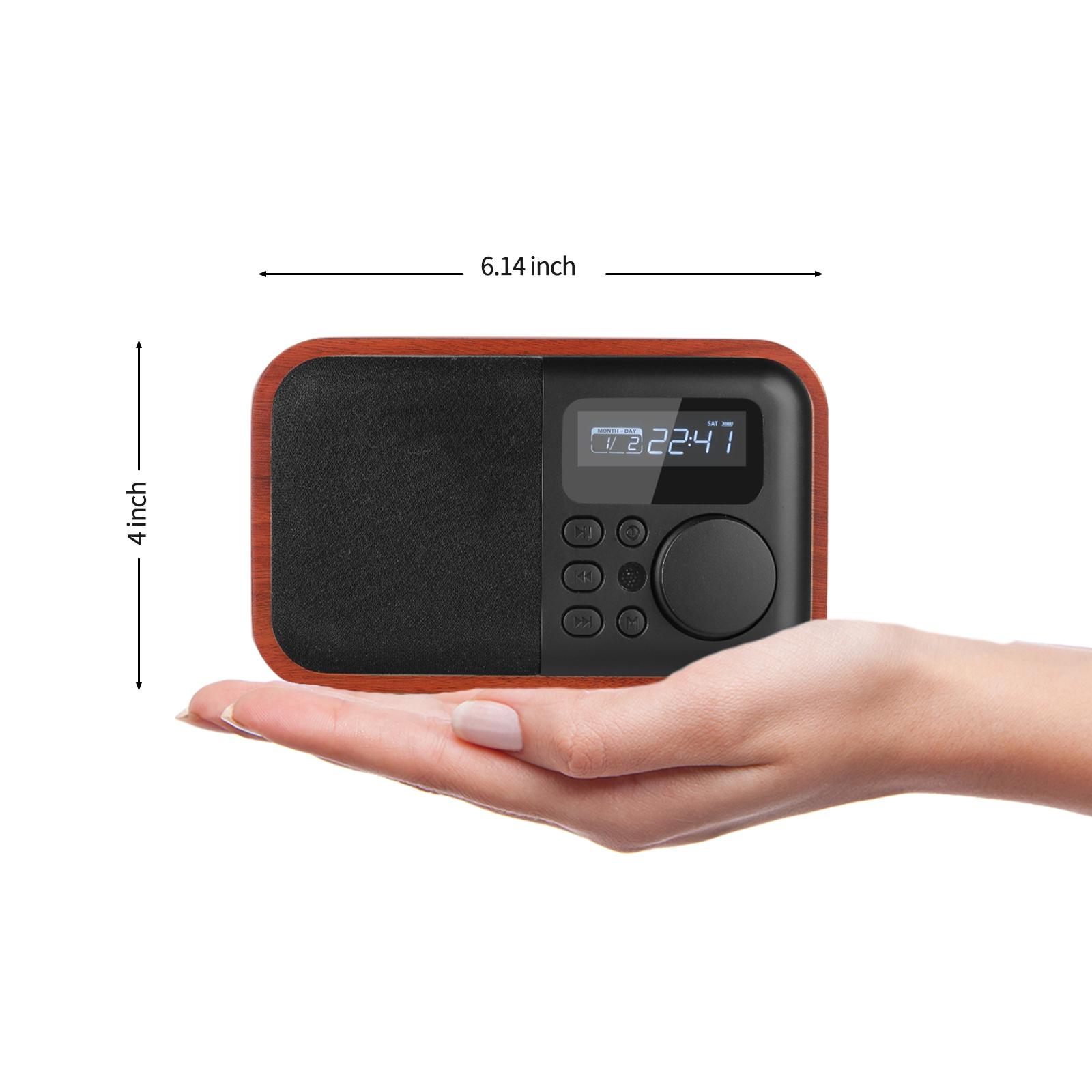 Radio: Wooden Digital Speaker Bluetooth FM Radio With Alarm Clock
