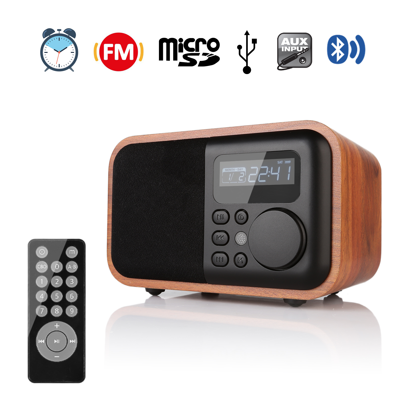 wooden digital speaker bluetooth fm radio with alarm clock mp3 remote control ebay. Black Bedroom Furniture Sets. Home Design Ideas