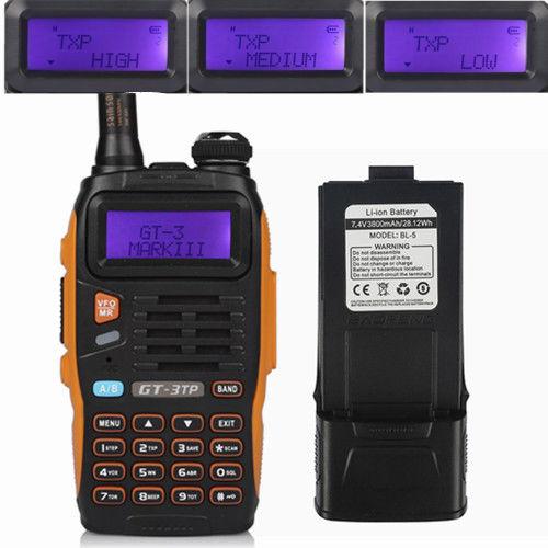 IT Baofeng GT-3 TP Mark III ★3800mAh★ BATTERIA 8W Walkie Talkie Ricetrasmittente