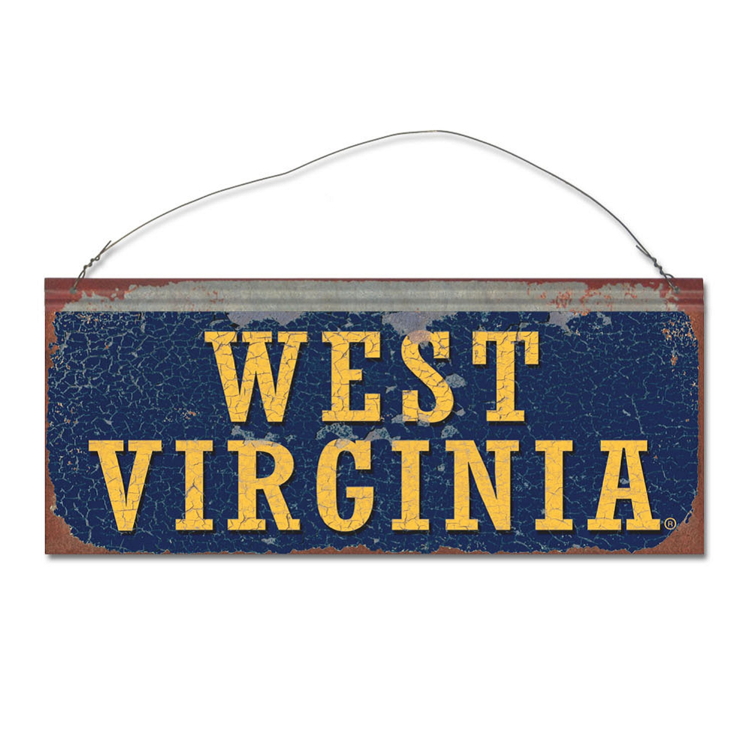 Image Is Loading West Virginia University Mountaineers Small Tin Sign